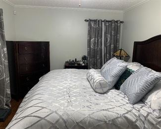 King size bed with mattress and box springs, dresser, chest  of drawers and night stand. $900