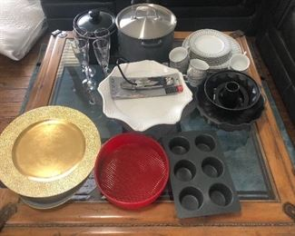 Assortment of cooking and baking items and dishes. Price negotiable