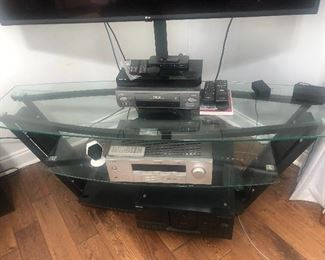 Glass TV stand with shelves $75