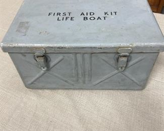 Antique Metal Life Boat First Aid Box