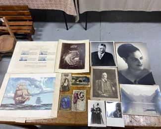 Antique photos, drawings, postcards