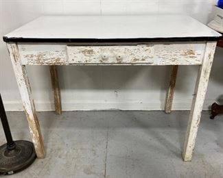 Antique Enamel Top Table