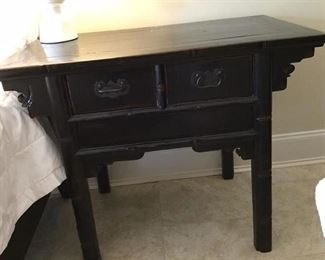 one of a pair asian style side tables with drawers