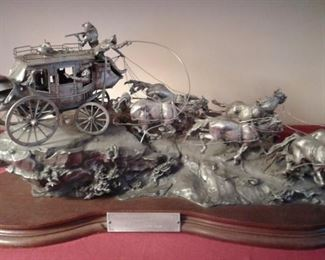 FLAT OUT FOR RED RIVER STATION STAGECOACH-23 POUNDS OF SCULPTED PEWTER!  INCREDIBLE DETAIL.   ALL PAPERWORK! VERY RARE LIMITED EDITION PIECE.  CHILMARK!  ARTIST-BOYETTE-KNOWN FOR HIS WESTERN ART.