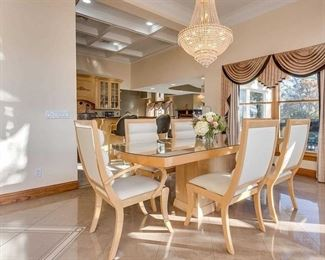Contemporary Dining table & six chairs