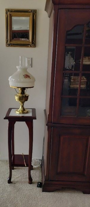 Marble inlay plant stand, lamp, mirror