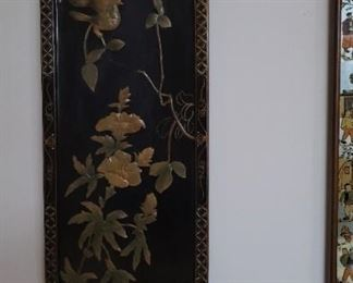 Vintage Black Lacquer Oriental Asian Wall Hangings