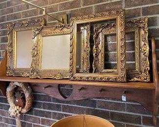 Custom made coat rack with shelf.  Beautiful frames.