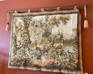 "Tapestry with tabs 80"" x 80"" (rod and tassels not included) $245  - - NEW PRICE $175"