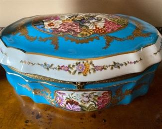 "13"" x 9"" x 5"" 1771 Sevres of France Celeste Blue Porcelain and Brass Box with Clasp $2195."