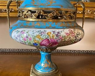 "12""w x 14""T Sevres of France Celeste Blue Porcelain and Brass Ormolu Lidded Pedestal Potpourri Urn $1995..... MAKE AN OFFER"