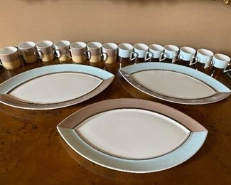 "Bernardald France Set: 16 Demi Cups (showing front and back of cups) and Serving Platters 15"" x 9"" $90"