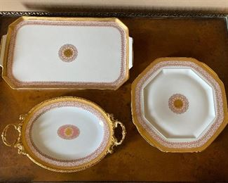 "Limoges France 22k gold. Rectangle 18"" x 10"" $42; Round 10"" $40; Oval 14"", $45"