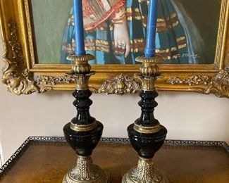 "Pair of Black Onyx Candleholders 16"" x 6"" $175"