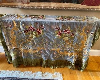 "Silk tablecloth with fringe and appliques 63"" x 76"" $350"