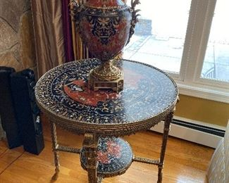 "Heavy Stone Ornate Table with Matching Urn 23"" x 14""; table 27"" x 30"" $850."