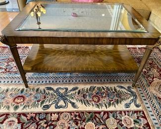 "Wood & Beveled Glass Coffee Table 48"" x 36"" x 24"" $825 - - NEW PRICE $650"