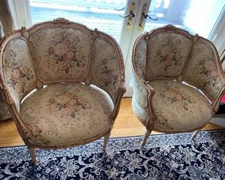 "Pair of Fabulous French Barrel Lacquered Wood Chairs 32"" x 27""; seat to floor 15"" $1,250 - - NEW PRICE $950"
