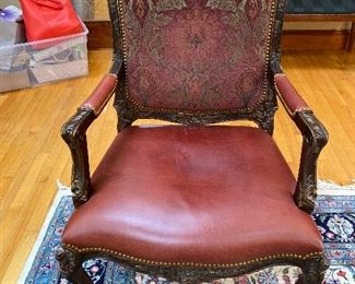 "Antique Chair with leather seat 28"" x 28"": floor to seat 17"" $325"
