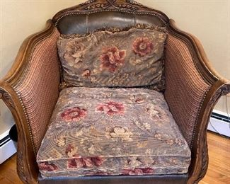"Upholstered Antique Chair with wood frame 35"" x 37""; floor to seat 22"" $325 - see matching sofa"