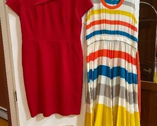 Red Bassler Cocktail Dress size 10 $22; Stripped casual Marc by Marc dress size large $35 Stripped dress is SOLD!