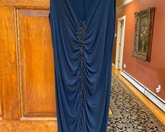 Navy Armani Collezioni Cocktail Dress with beading down the middle Size 12 $50