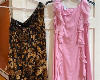 One Shoulder Beaded Escada Cocktail Dress Size 36 $95; Pink Ruffled Oscar de la Renta Size 12 $125