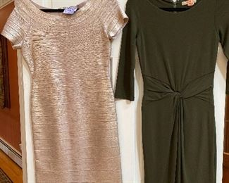 Herve Leger Champagne Body Con Bandage Off Shoulder Dress Size large $150; Michael Korrs Green Dress looks to be size 10-12 $95