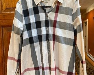Woman's Burberry Brit Nova Check Button down shirt Size M $145