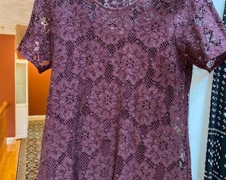 Burberry Deep Claret Lace Top over same color Silk Cami size Medium $175