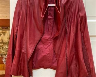 Vince Red Soft Leather Jacket Size Large $165