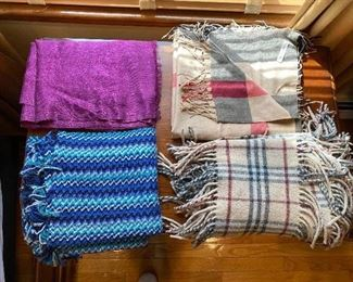 Scarves : purple $25; Burberry SOLD top RT $95;  Burberry 100% Cashmere SOLD Double Fringe $85 ; Blue multi color $25