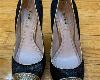 Miu Miu by Prada Pony Hair & Glitter Pumps size 38 $145