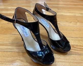 Jimmy Choo Black Patent Leather Pumps Size 38 $75