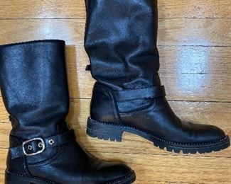 Dior Black Leather Biker Boots Size 38 $285