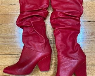 Stuart Weizman Red Leather Boots Size 7.5 $195