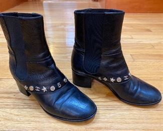 Chanel Black Calf Leather Lucky Charm Ankle Boots Size 38.5 $725 - - NEW PRICE $645