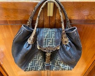 "Fendi Brown Nappa Leather and Monogram  Canvas Tortoise Handle Spy Bag 16"" x 10"" $775"