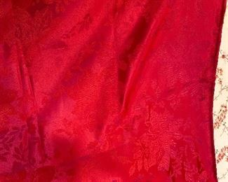 "2 red tablecloths 50"" x 60"" $10"
