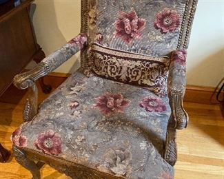 "Antique chair 44"" x 28""; floor to seat 18"" $185"