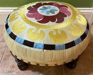 "Tufted stool 17"" D x 5"" T $65"