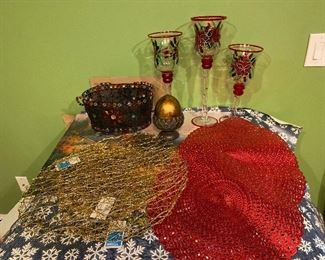 Holiday Lot: Placemats, candle holders, basket, etc. $28