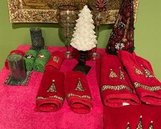 Holiday lot: towels, candles, etc. $30