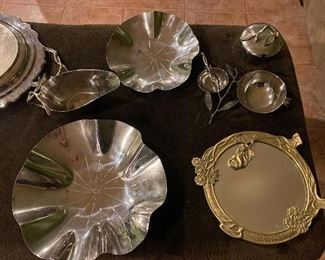 Michael Aram large bowl $75; Michael Aram small bowl $50; Michael Aram Gravy dish $50;Michael Aram Condiment bowls $95; Decorative Mirrored Tray $35