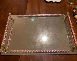Large Mirrored Tray with Pink accent $32