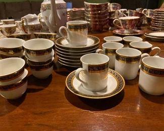 Bohemia 10 saucers, 8 Full size cups, 14 Demi cups $225