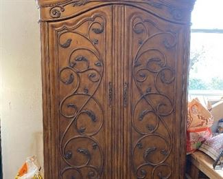 "Armoire with storage drawers 85"" x 50"" x 24"" $175"