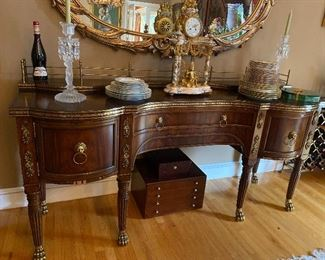 "Exception Antique Buffet with brass claw feet 78"" x 24""  $4,900"