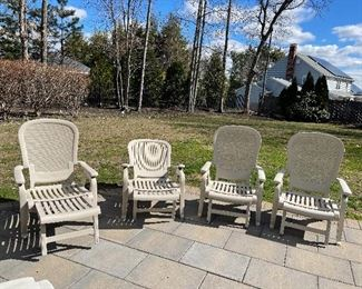 "4 Retractable Grosfillex Outdoor Chairs. Made of 100% prime resin: a material impervious to salt air, chlorine, and most common stains. - use as a lounger or chair $350 - 31""x 31"" x 41"""