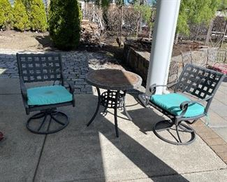 2 Swivel Square Pattern Chairs with round table $125